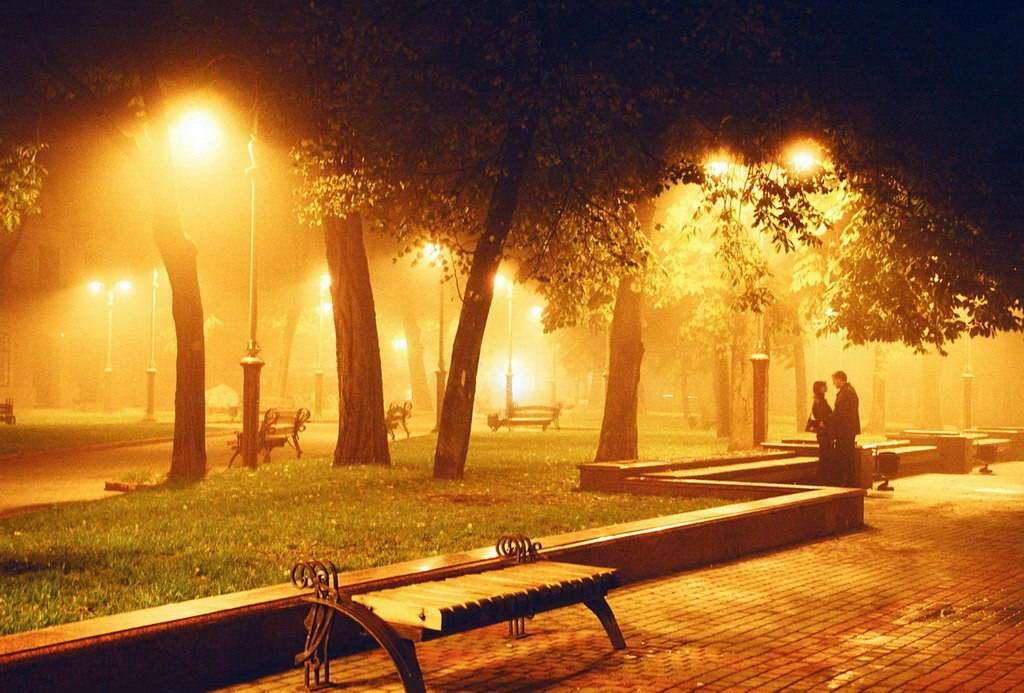 Нічний вид парку в м. Івано-Франківськ